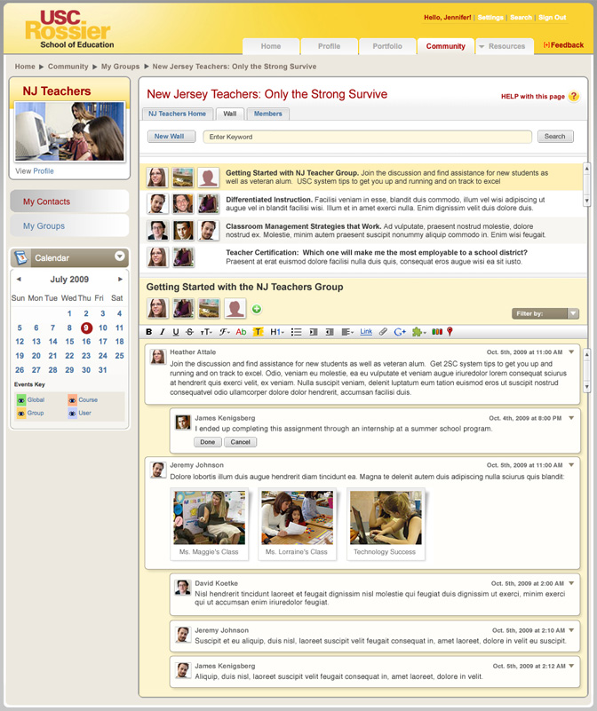 Screenshot of MAT@USC Community page with Google Wave integration