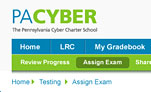 Screenshot of PA Cyber Charter school UI