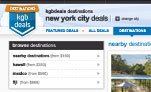 Screenshot of a US kgbdeals 'Destinations' page