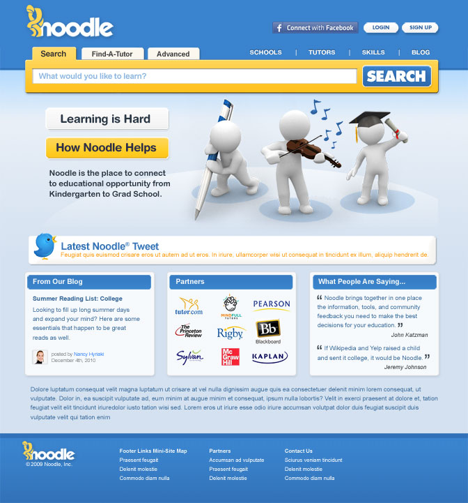 Screenshot of Noodle Home page