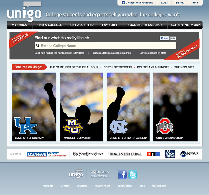 Screenshot of Unigo homepage