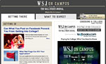 Screenshot of the Unigo WSJ on Campus landing page (May 2010)